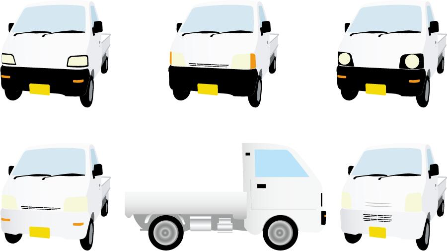 フリーイラスト 6種類の軽トラのセット