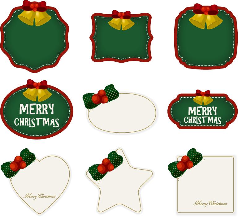 フリーイラスト 9種類のクリスマスラベルのセット