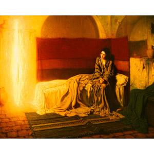 フリー絵画, ヘンリー・オサワ・タナー, 宗教画, キリスト教, 新約聖書, 聖母マリア, 受胎告知, 光(ライト)