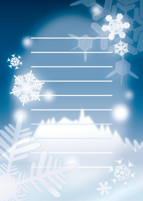 フリーイラスト 雪の結晶の便箋