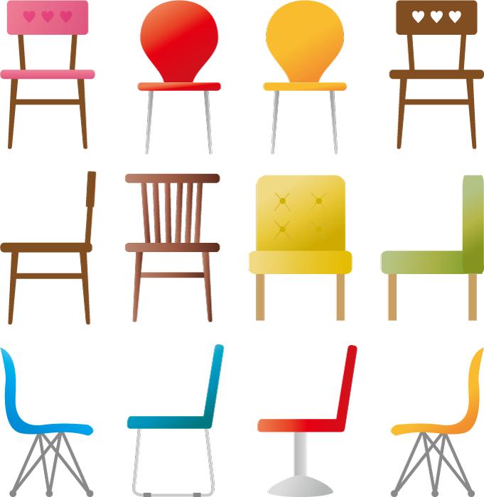フリーイラスト 12種類の椅子のセット