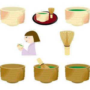 フリーイラスト, ベクター画像, AI, 茶道, 飲み物(飲料), お茶, 抹茶, 湯呑茶碗, 茶筅, 人物, 女性