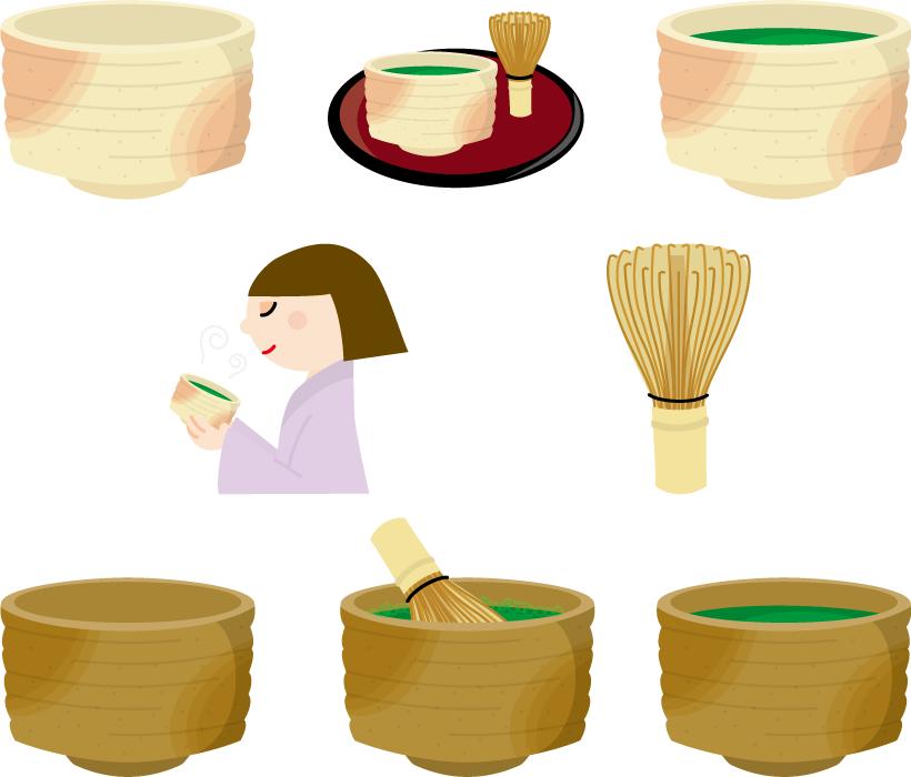 フリーイラスト 8種類の茶道のセット