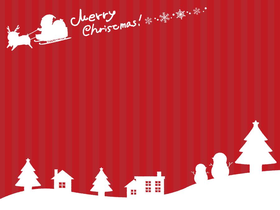フリーイラスト 雪景色とサンタとトナカイのクリスマス背景