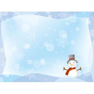 フリーイラスト, ベクター画像, AI, 背景, フレーム, 囲みフレーム, 雪だるま, 雪, 雪の結晶, 冬