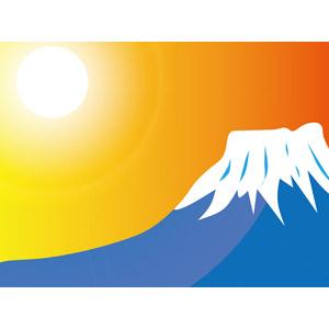 フリーイラスト, ベクター画像, AI, 風景, 自然, 山, 富士山, 世界遺産, 日本の風景, 初日の出, 朝日, 日の出, 1月, 正月, 元旦(元日)