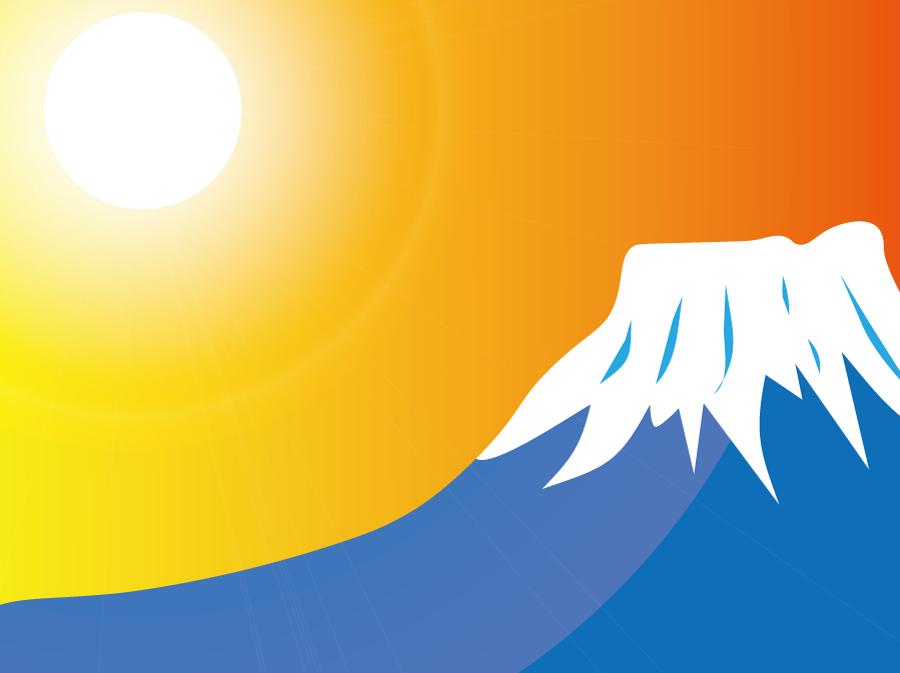 フリーイラスト 富士山と初日の出の風景