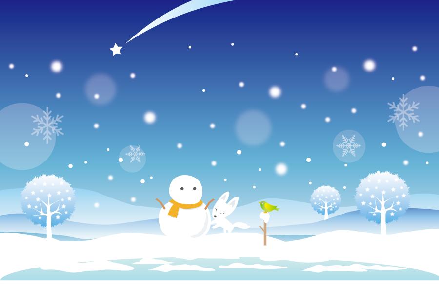フリーイラスト 雪だるまと白きつねと雪景色