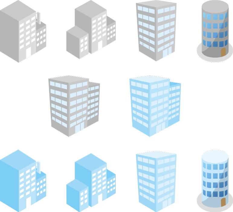 フリーイラスト 斜め上から見た10種類のオフィスビルのセット