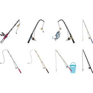 フリーイラスト, ベクター画像, AI, 魚釣り(フィッシング), 釣り竿, 釣具