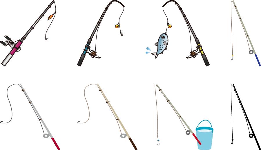 フリーイラスト 8種類の釣り竿のセット
