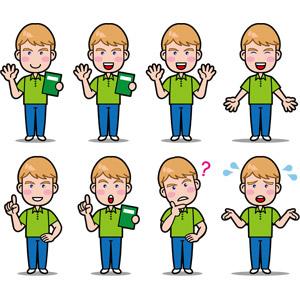 フリーイラスト, ベクター画像, EPS, 人物, 男性, 外国人男性, 困る, 分からない, 首を傾げる, ワンポイントアドバイス, 冷や汗をかく, サムズアップ, いいね(グッド), 教師(先生), 英会話, 英語, 職業, 仕事