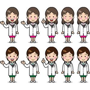 フリーイラスト, ベクター画像, EPS, 人物, 女性, 職業, 仕事, 医者(医師), 医療, 聴診器, 女医, 案内する, ワンポイントアドバイス