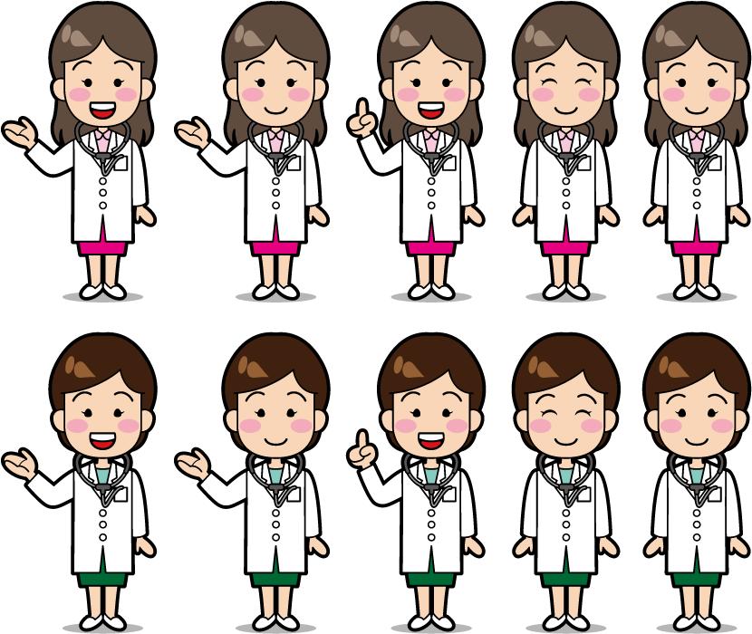フリーイラスト 10種類の女医さんのセット
