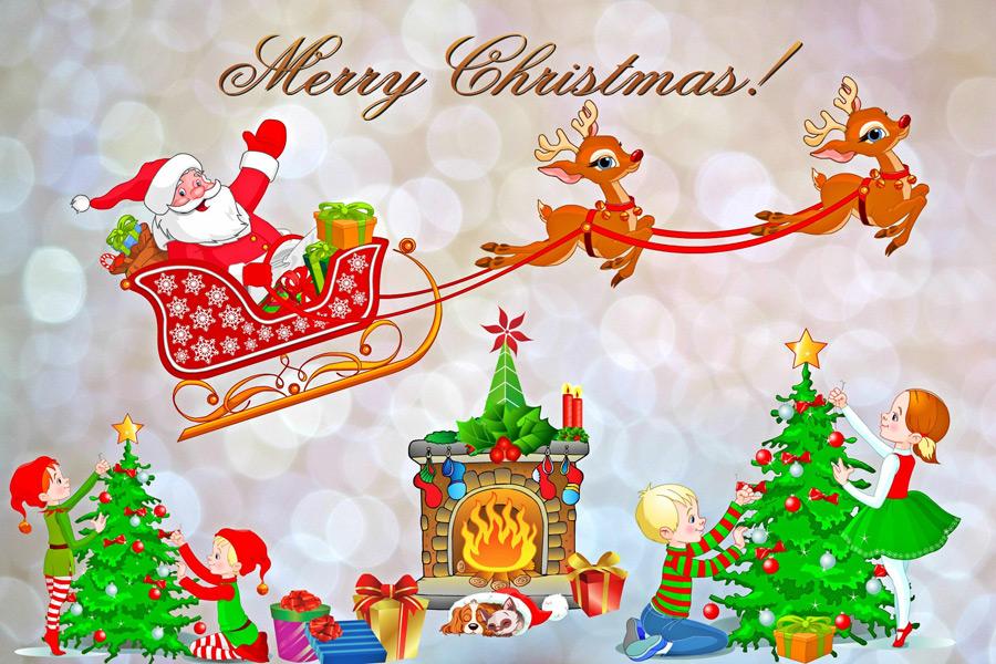 フリーイラスト ツリーの飾りつけをする子供とエルフのクリスマス背景