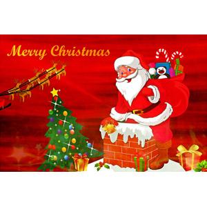 フリーイラスト, 年中行事, クリスマス, 12月, 冬, メリークリスマス, サンタクロース, トナカイ, クリスマスツリー, クリスマスプレゼント, 煙突