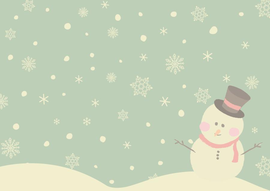 フリーイラスト 降り積もる雪と雪だるま