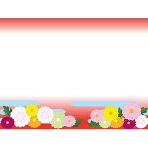 フリーイラスト, ベクター画像, AI, 背景, フレーム, 上下フレーム, 和柄, 正月, 1月, 花, 菊(キク)