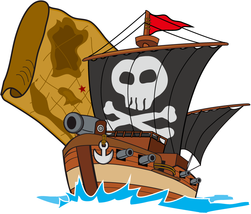 フリーイラスト 海賊船とお宝の地図