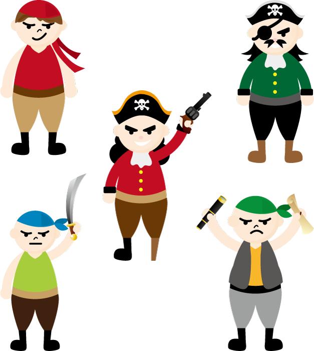 フリーイラスト 5人の海賊のセット
