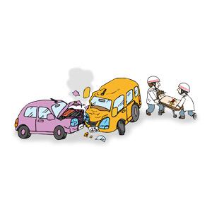 フリーイラスト, ベクター画像, AI, 災害, 事故, 交通事故, 自動車, 破壊, 救急隊員, 職業, 仕事, 負傷者, 担架
