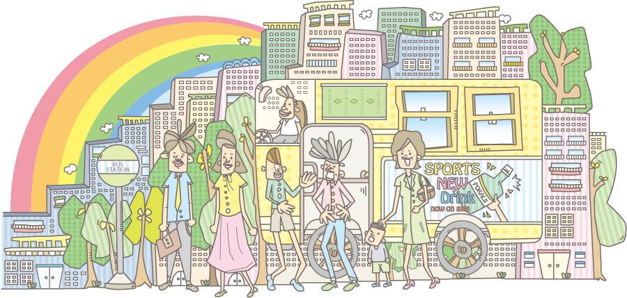 フリーイラスト バスと人々と虹の掛かる街