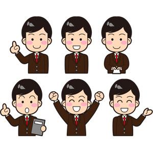 フリーイラスト, ベクター画像, EPS, 人物, 男性, 職業, 仕事, サラリーマン, ビジネスマン, ビジネス, ワンポイントアドバイス, 名刺, 万歳(バンザイ), 喜ぶ(嬉しい), 案内する