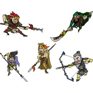 フリーイラスト, ベクター画像, AI, 人物, 男性, 武将, 三国志, 武器, 刀剣, 槍, 弓矢, 矛, 薙刀(なぎなた)