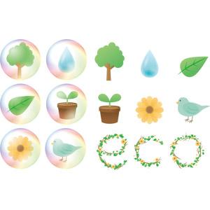 フリーイラスト, ベクター画像, AI, エコロジー, 樹木, 植物, 葉っぱ, 花, 新芽, 水滴(雫), 小鳥, 青い鳥, しゃぼん玉(シャボン玉)