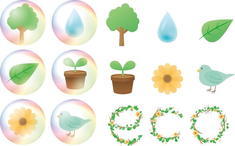 フリーイラスト 植物や鳥や水滴などのエコのセット