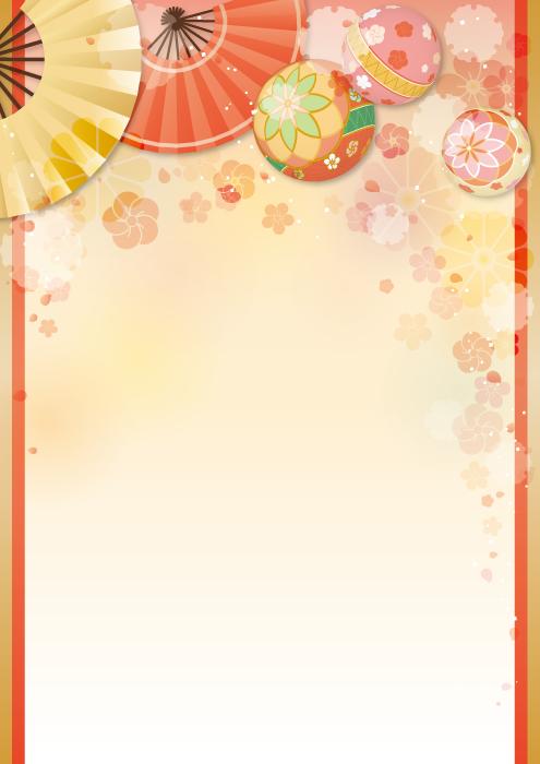 フリーイラスト 扇子と鞠と梅の和風背景