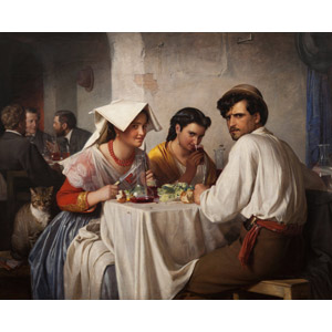 フリー絵画, カール・ハインリッヒ・ブロッホ, 風俗画, 振り返る, 食事, 飲食店, 飲む, ワイン, 赤ワイン, 人と動物, 猫(ネコ)