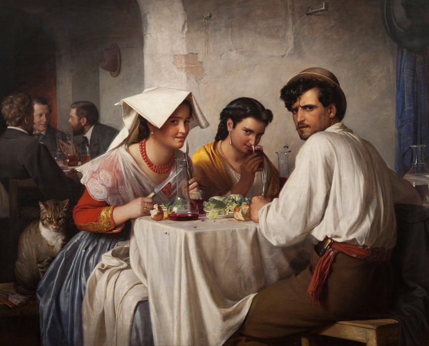 フリー絵画 カール・ハインリッヒ・ブロッホ作「ローマの飲食店」