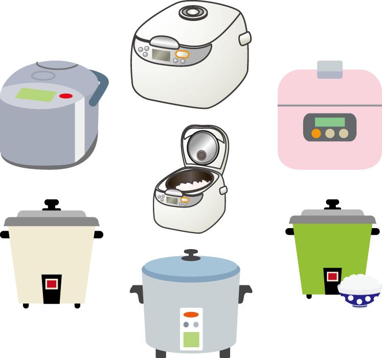 フリーイラスト 7種類の炊飯器のセット