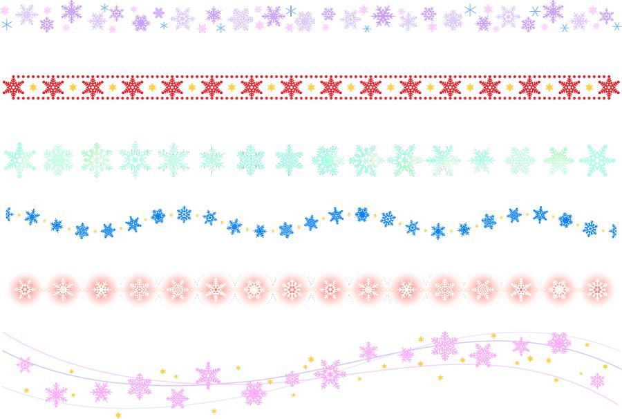 フリーイラスト 6種類の雪の結晶の飾り罫線のセット
