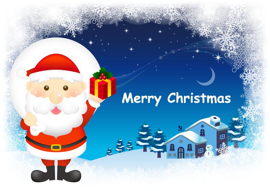 フリーイラスト 聖なる夜とサンタのクリスマス背景