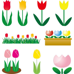 フリーイラスト, ベクター画像, AI, 植物, 花, チューリップ