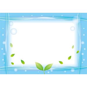 フリーイラスト, ベクター画像, EPS, 背景, フレーム, 囲みフレーム, 植物, 植物, 葉っぱ, 新芽, 水, 泡, エコロジー