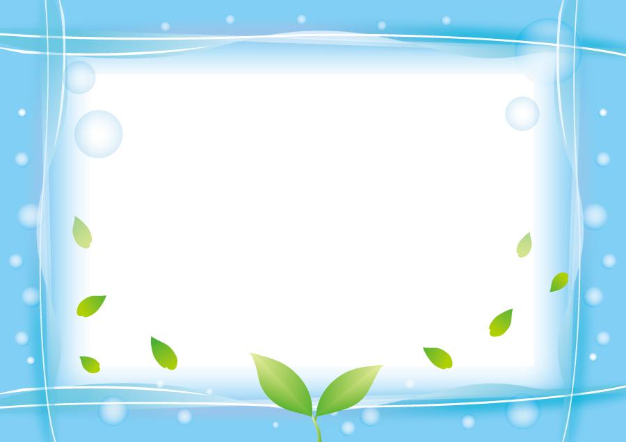 フリーイラスト 新芽と水のフレーム