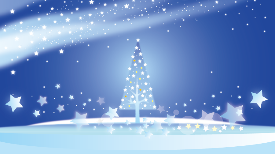 フリーイラスト 星とクリスマスツリーの背景