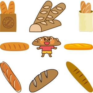 フリーイラスト, ベクター画像, AI, 食べ物(食料), パン, フランスパン