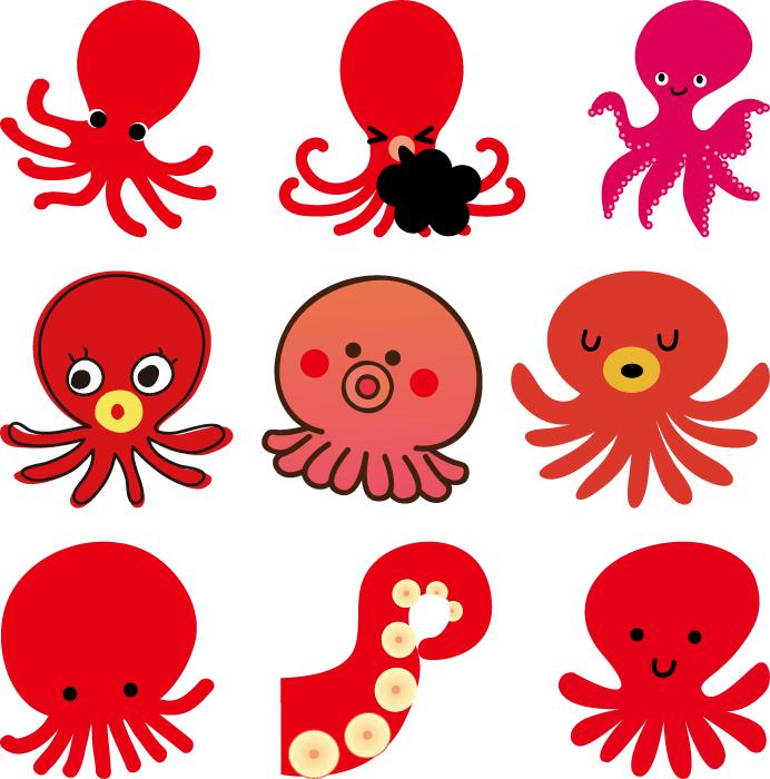 フリーイラスト 9種類の蛸のセット