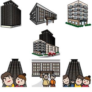 フリーイラスト, ベクター画像, AI, 建造物, 建築物, 高層ビル, 住宅, マンション