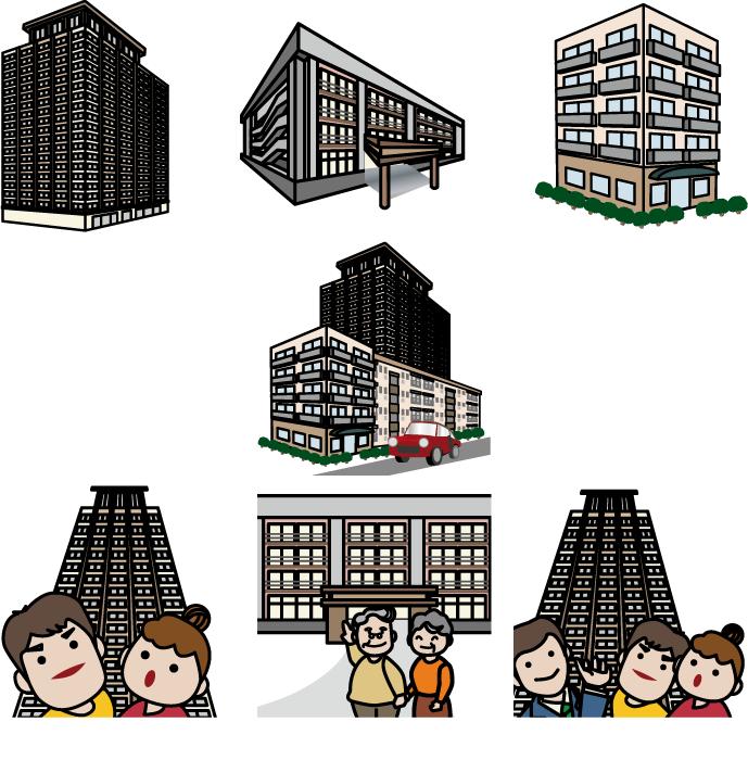フリーイラスト 7種類のマンションのセット