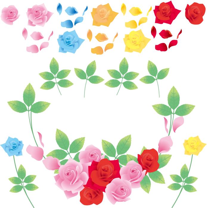 フリーイラスト バラの花と花びらのセット