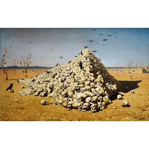 フリー絵画, ヴァシーリー・ヴェレシチャーギン, 戦争, 死, 頭蓋骨(髑髏), カラス, 群れ