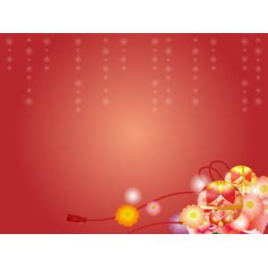 フリーイラスト, ベクター画像, AI, 背景, 年中行事, 正月, 元旦(元日), 1月, 花柄, 鞠(毬), 赤色(レッド)