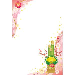フリーイラスト, ベクター画像, EPS, 背景, フレーム, 対角フレーム, 年中行事, 正月, 元旦(元日), 1月, 梅(ウメ), 門松, 扇子