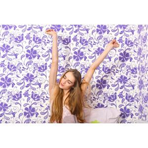 フリー写真, 人物, 女性, 外国人女性, 女性(00092), 起床(寝起き), ストレッチ, 背伸び