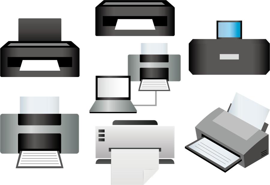 フリーイラスト 7種類のプリンターのセット